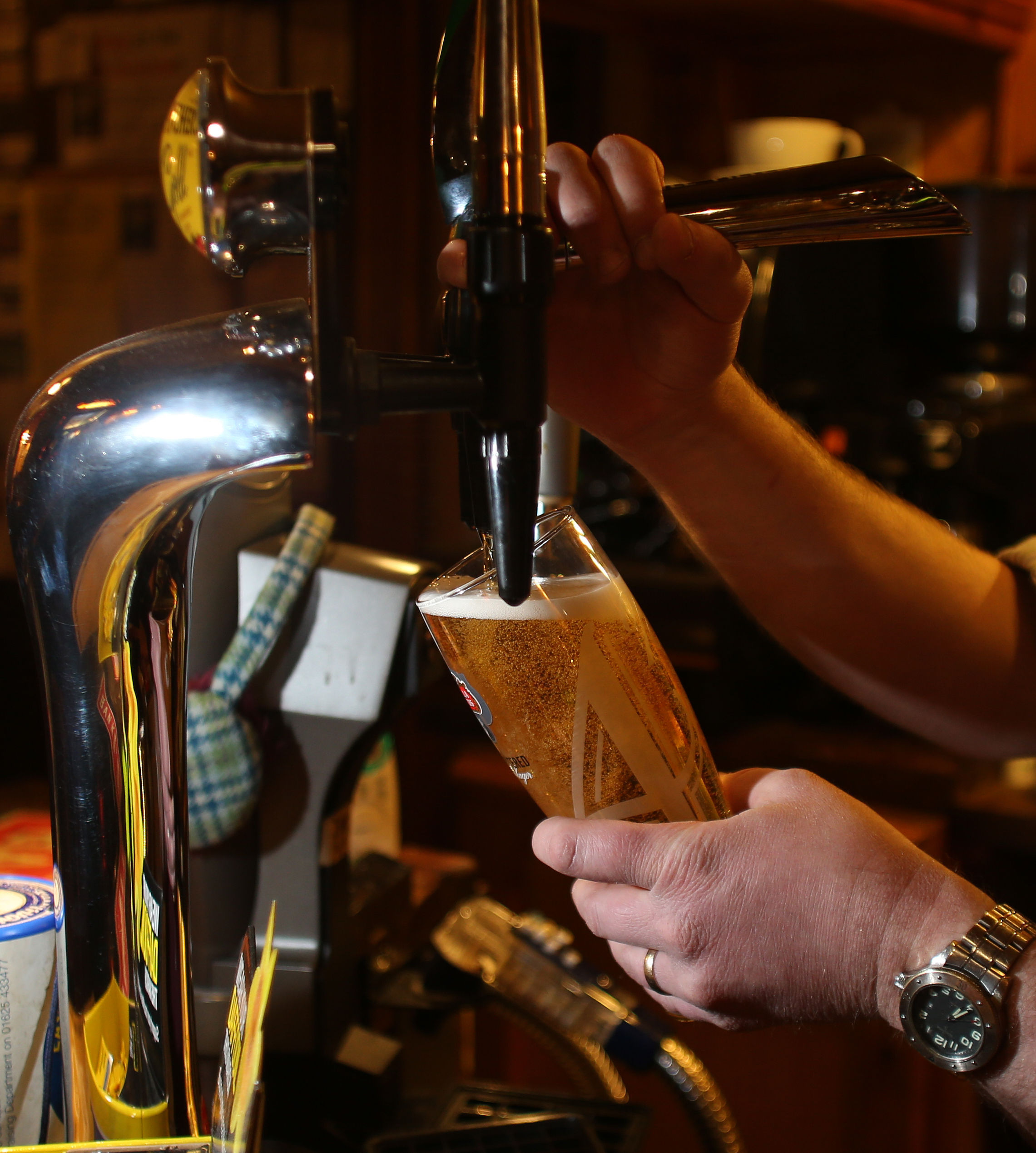 File photo dated 18/3/2013 of a pint of lager being pulled in a pub. Chancellor of the Exchequer George Osborne delivers his Budget Statement to MPs in the House of Commons, London.  PRESS ASSOCIATION Photo. Issue date: Wednesday March 16, 2016. See PA BU
