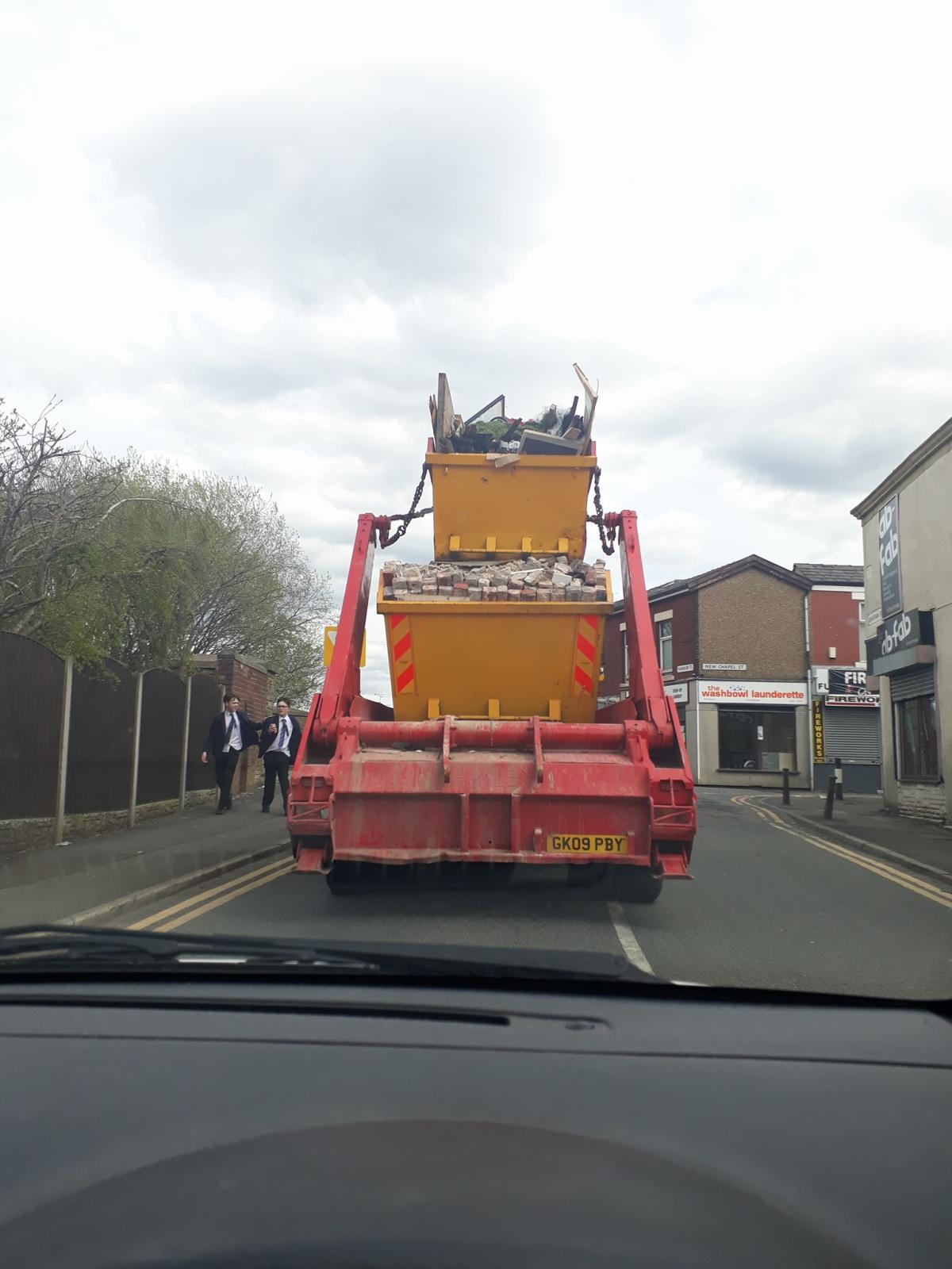 witnesses horrified by double skip lorry stack lancashire telegraph