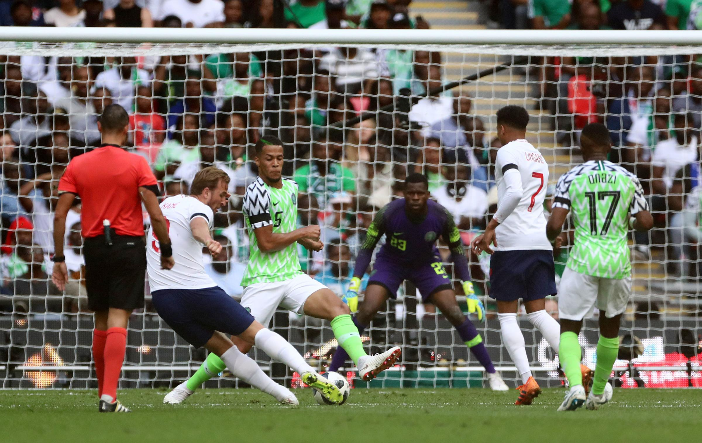 England's Harry Kane scores his side's second goal of the game against Nigeria