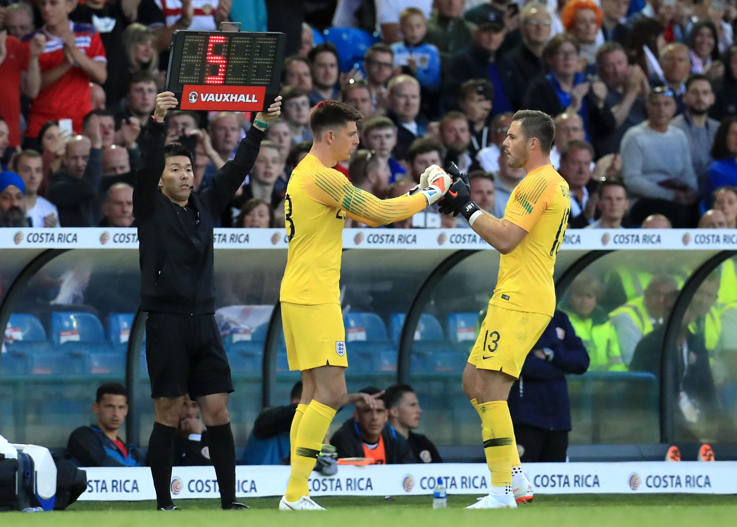 Burnley's Nick Pope replaces Jack Butland and makes his England debut