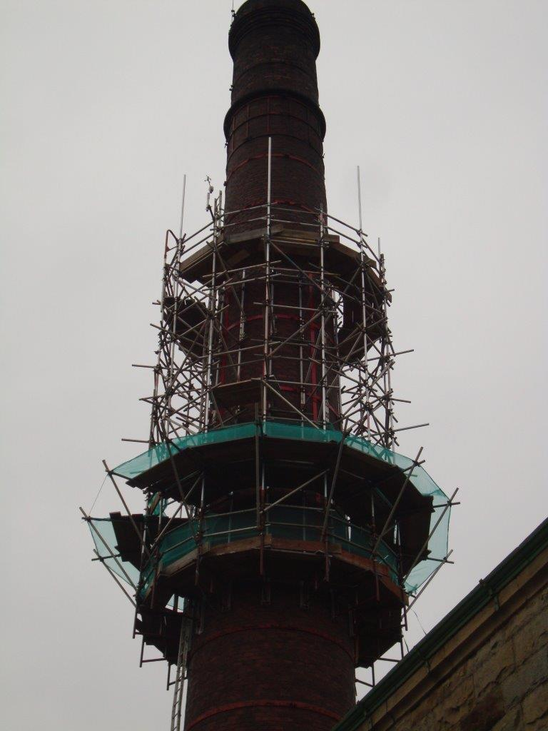 Scaffolding on Queen Street Mill Tower