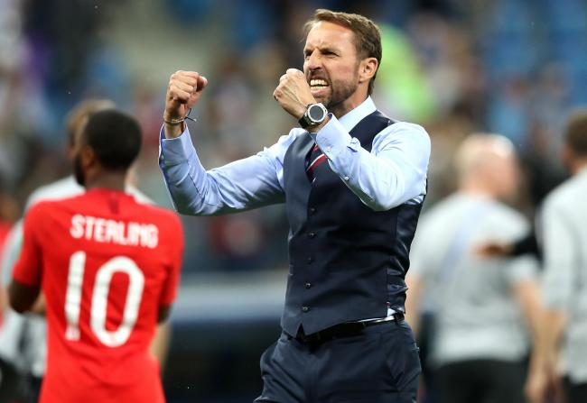 England manager Gareth Southgate celebrates their win after the final whistle