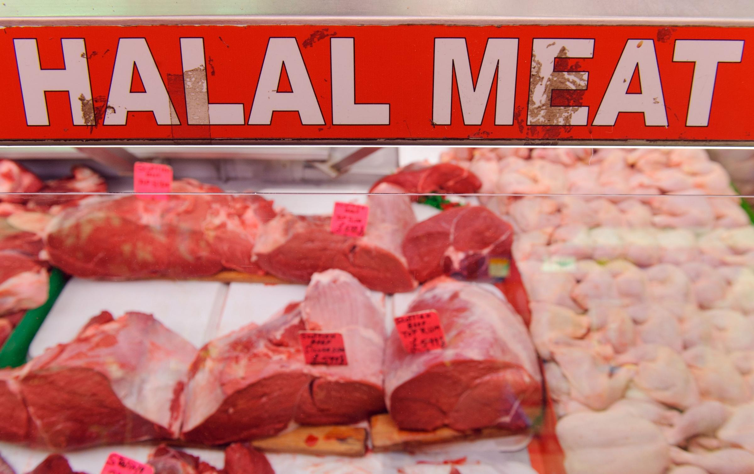 Halal meat on display on a butchers counter