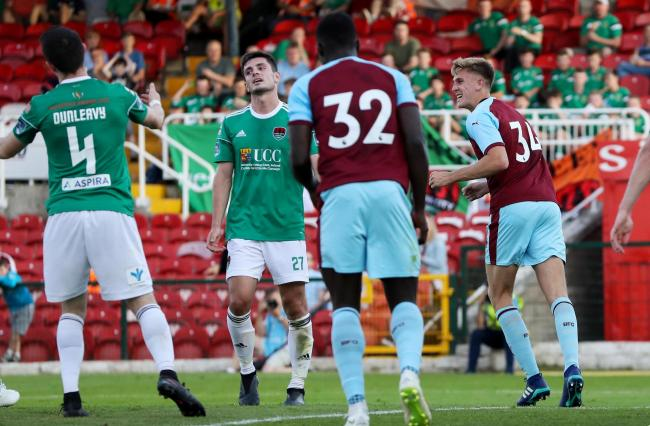 Jimmy Dunne celebrates scoring for Burnley against Cork City