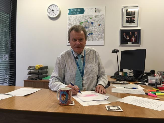Cllr Geoff Driver in his office at County Hall.