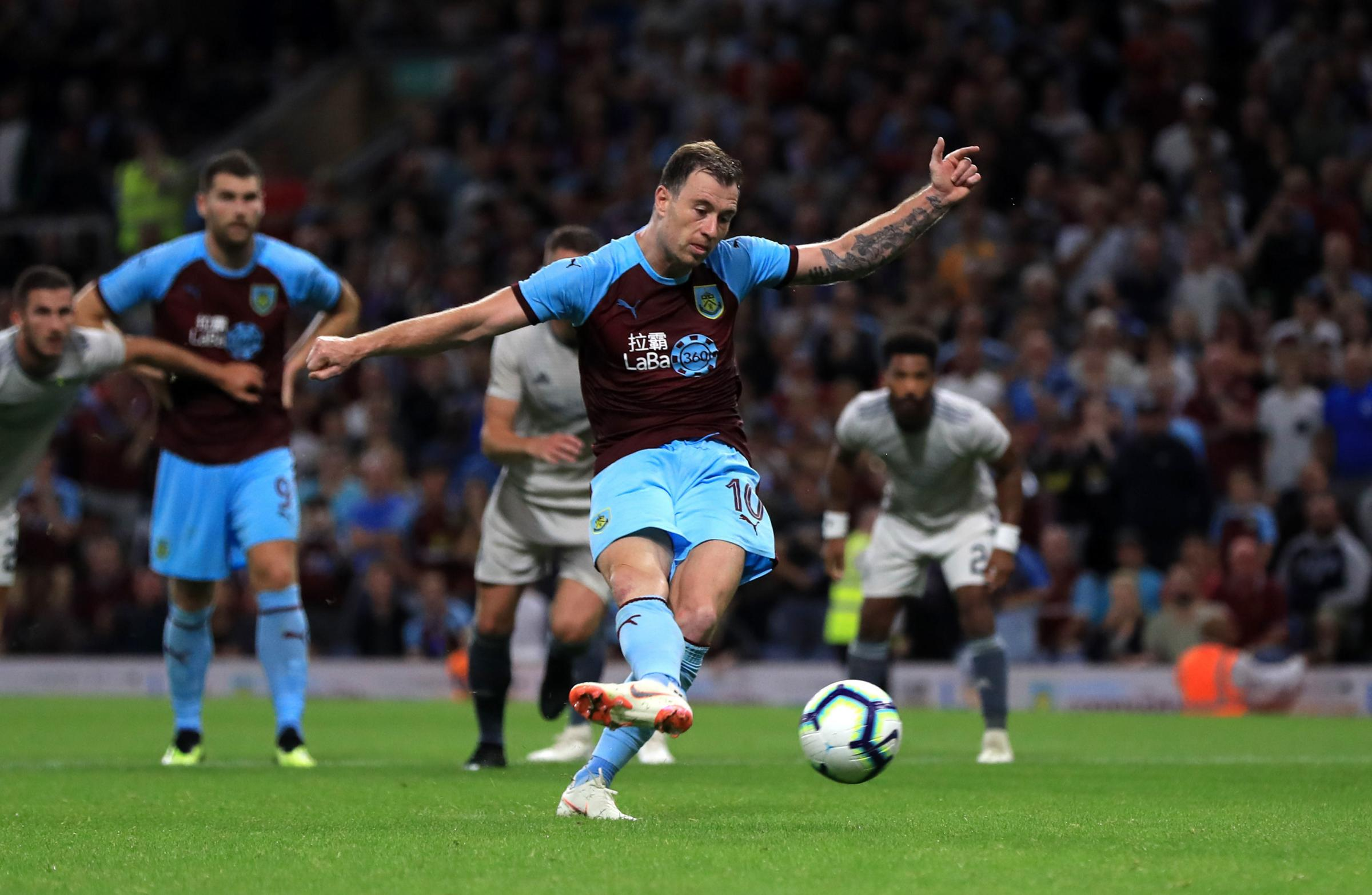 Burnley's Ashley Barnes scores his sides third goal from the penalty spot during the UEFA Europa League, Second Qualifying Round, Second Leg match at Turf Moor, Burnley. PRESS ASSOCIATION Photo, Picture date: Thursday August 2, 2018. See