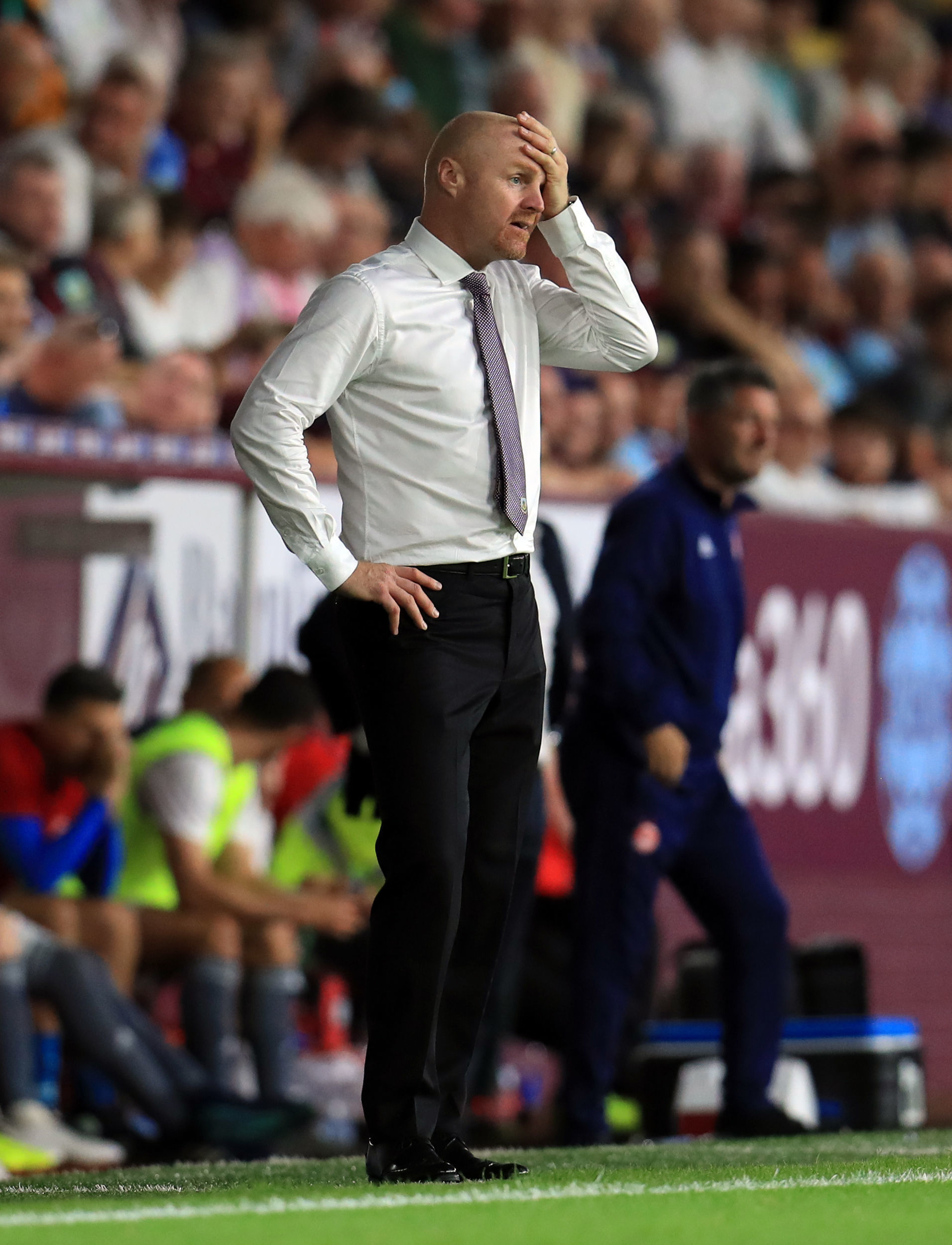Burnley manager Sean Dyche during the UEFA Europa League, Second Qualifying Round, Second Leg match at Turf Moor, Burnley. PRESS ASSOCIATION Photo, Picture date: Thursday August 2, 2018. See PA story SOCCER Burnley. Photo credit should read: