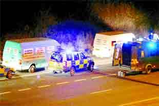 CONCERN: Police with vans on the M65. (Picture: MJP Media/PA Wire)