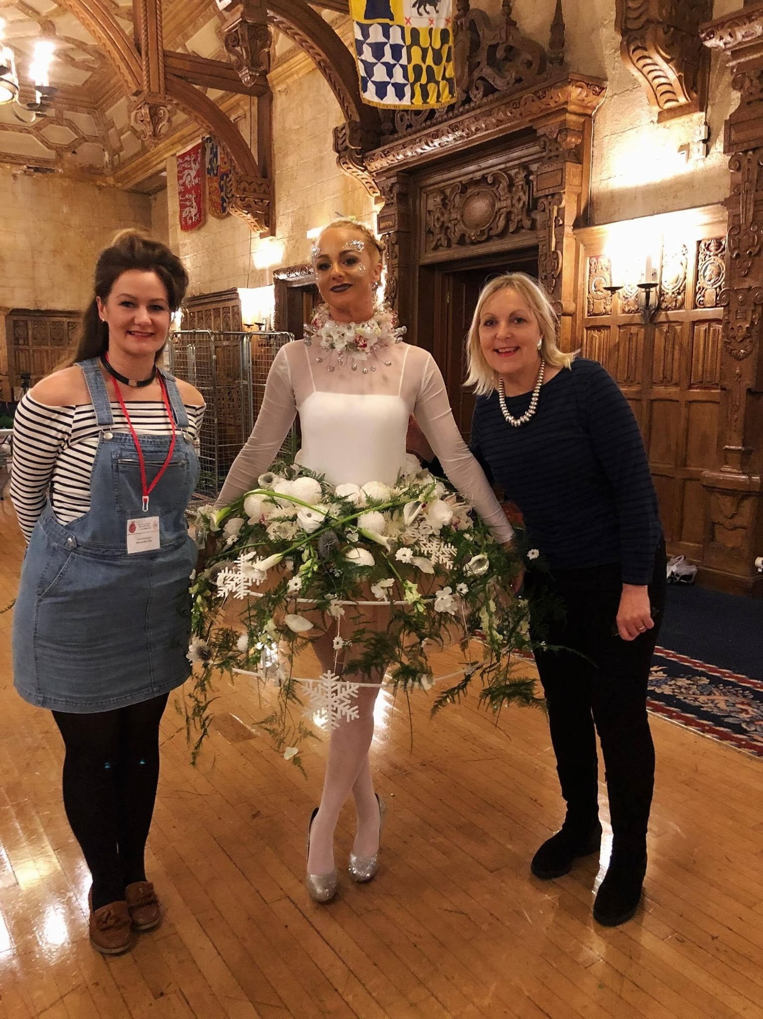 Emily Waddington with one of the designs for the Blackpool Festival along with Paula Pryke OBE right