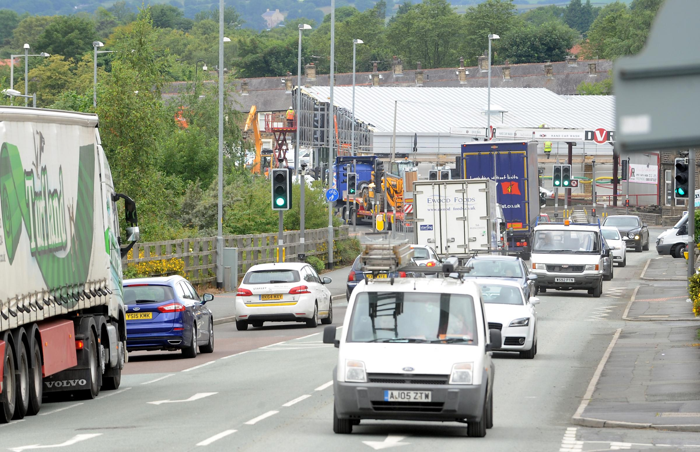 Helen Brown    30.07.15..Solid traffic along North Valley Road, Colne, which can cause great delays..