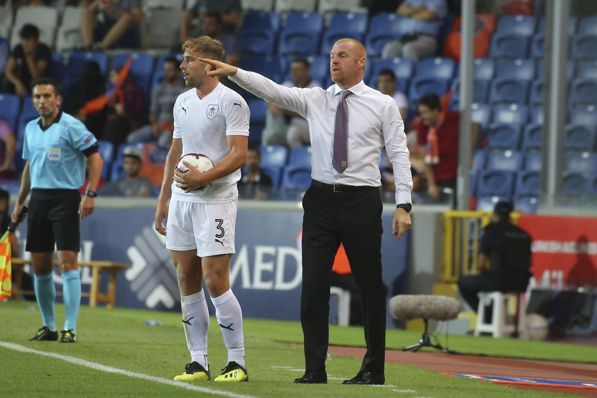 Sean Dyche direct proceedings from the touchline during Burnley's goalless draw with Istanbul Basaksehir in Turkey