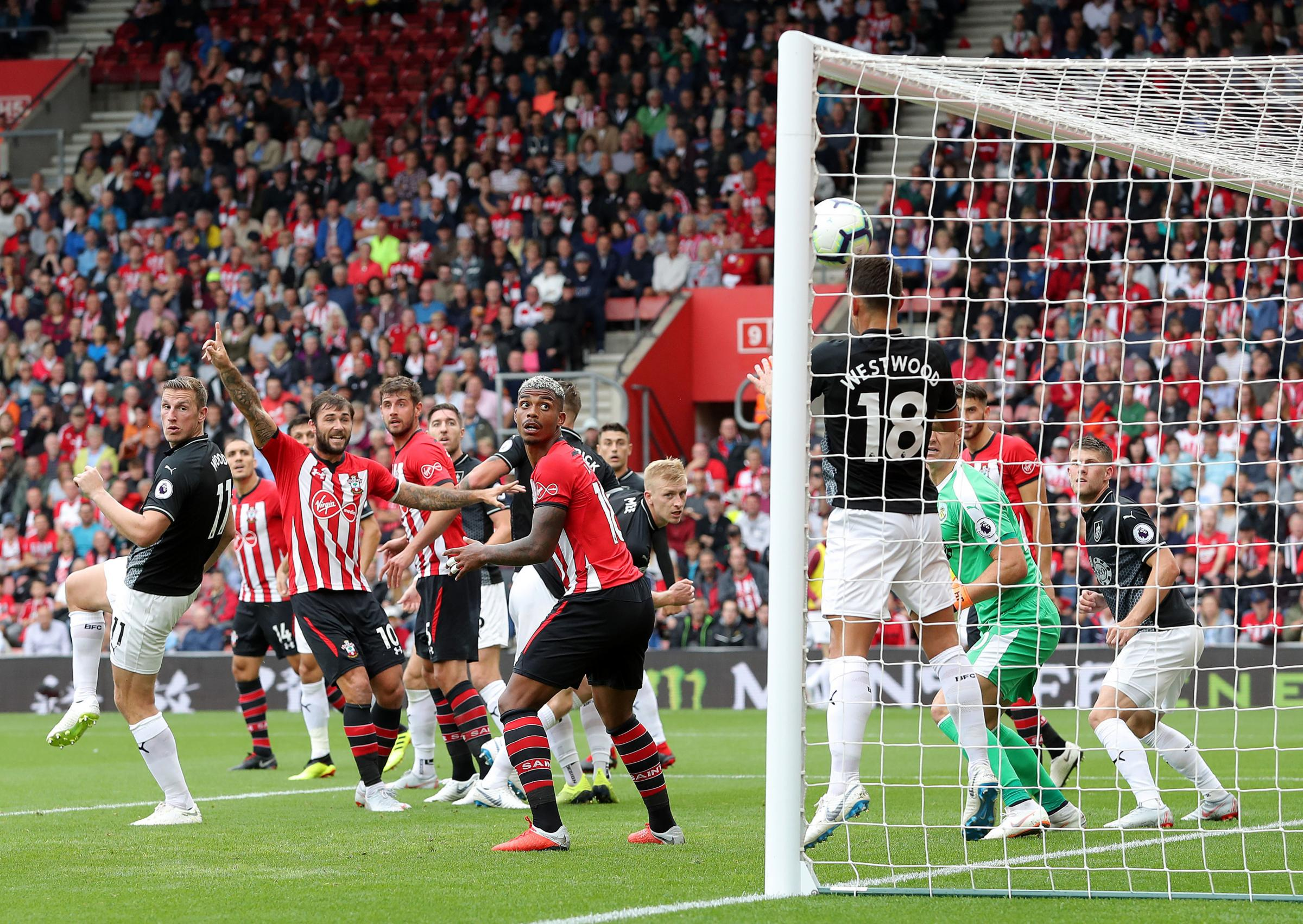 Burnley's Ashley Westwood clears off the goalline during the Premier League match at St Mary's, Southampton. PRESS ASSOCIATION Photo. Picture date: Sunday August 12, 2018. See PA story SOCCER Southampton. Photo credit should read: Andrew Matthews/