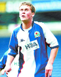 TRUE BLUE: Joel Byrom back in his Rovers days