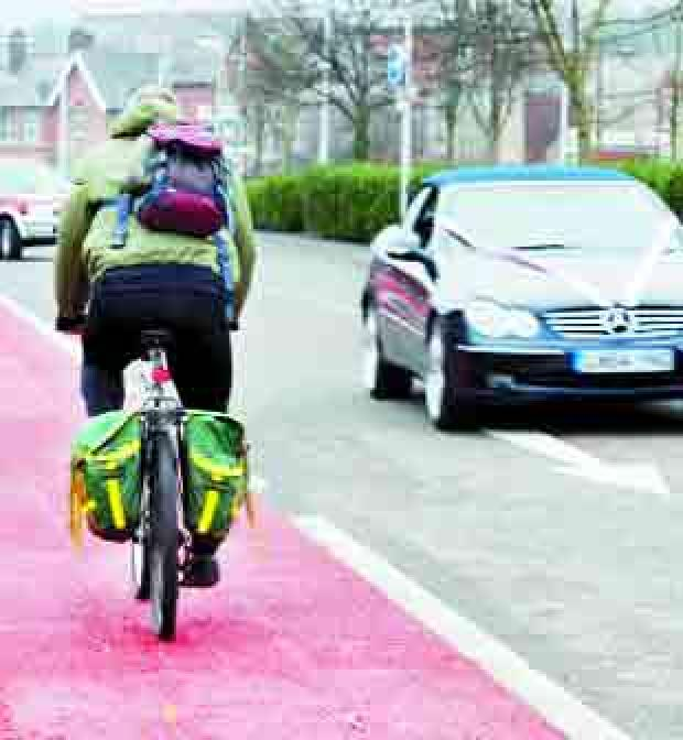 Lancashire Telegraph: DAUNTING: The new cycle lane in Tontine Street, Blackburn, which sees the rider heading into the oncoming traffic and possible danger