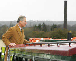 Prince Charles on the canal boat