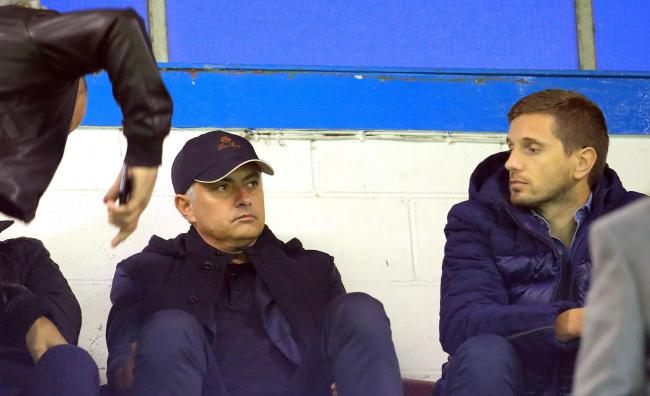 Jose Mourinho watches Burnley's draw with Olympiakos from the back row of the Bob Lord Stand