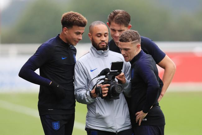 England's Dele Alli, James Tarkowski and Kieran Trippier look at video footage during a training session at St Georges' Park, Burton. PRESS ASSOCIATION Photo. Picture date: Tuesday September 4, 2018. See PA story SOCCER England. Ph