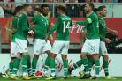 Republic of Ireland players celebrate Aiden O'Brien's goal in Poland