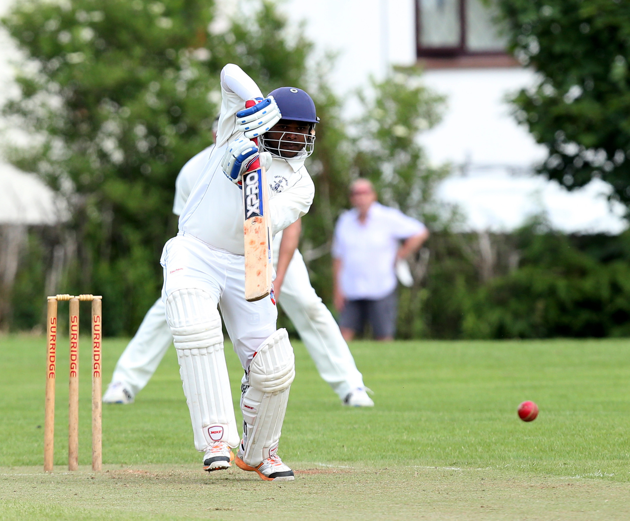 great harwood PRO Ashen Silva batting .during the  ribblesdale league Cricket match between great harwood and whally  at blackburn old rd harwood on sun 25th june 2016.