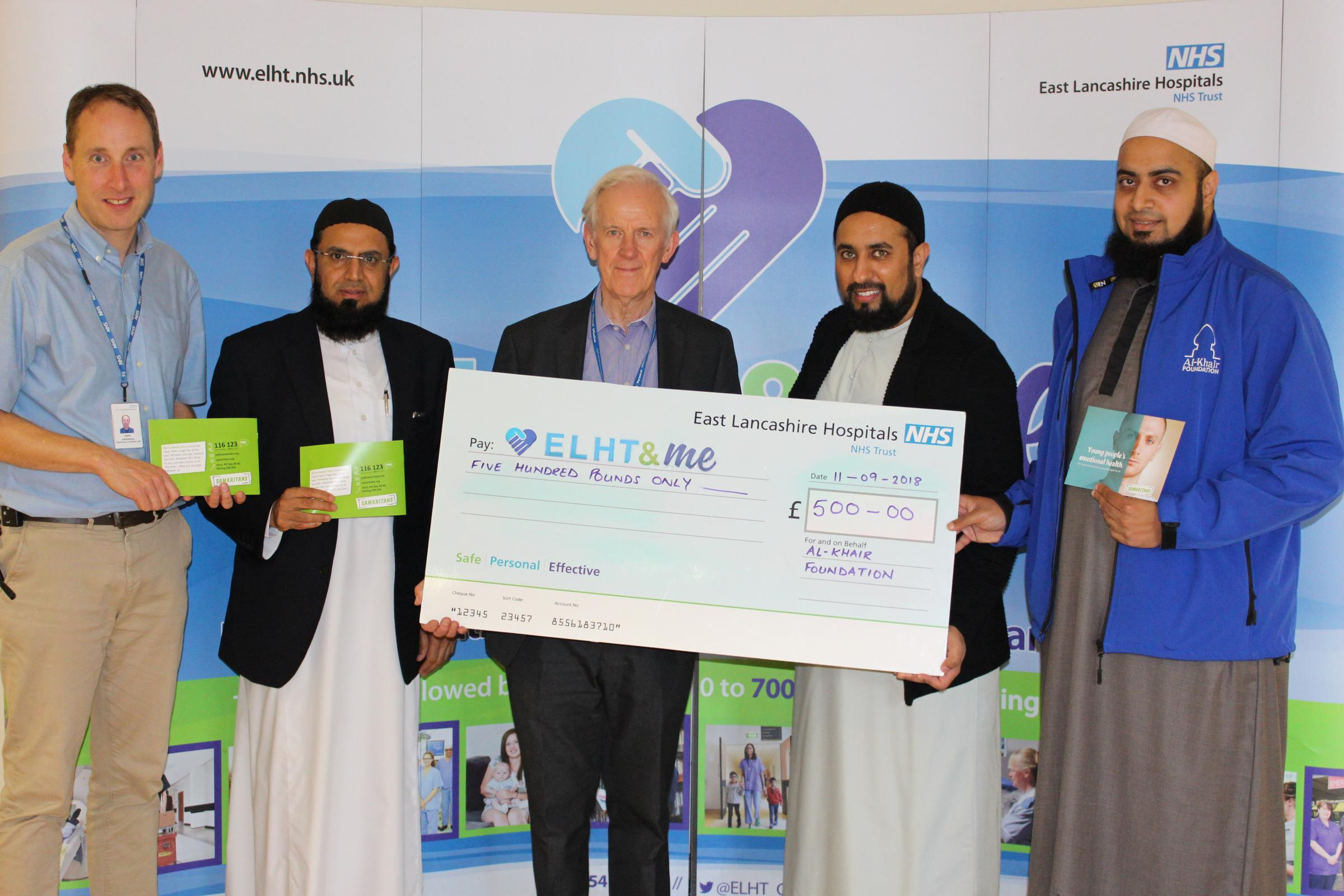 David Anderson, East Lancashire NHS Trust hospital chaplain, Imam Fazal Hassan, the trust's Muslim chaplain, Mike Wedgeworth, non-executive director, Zubair Vali, events coordinator for Al-Khair Foundation and Imran Musa, national manager for the foun