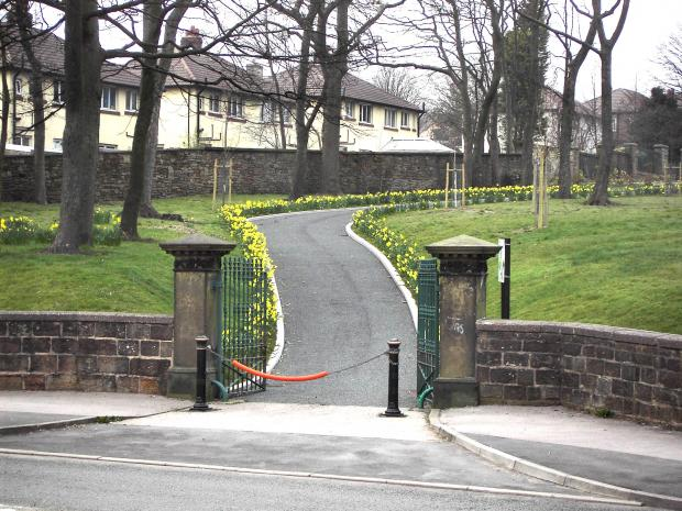 The entrance to Gatty Park in Church near Accrington