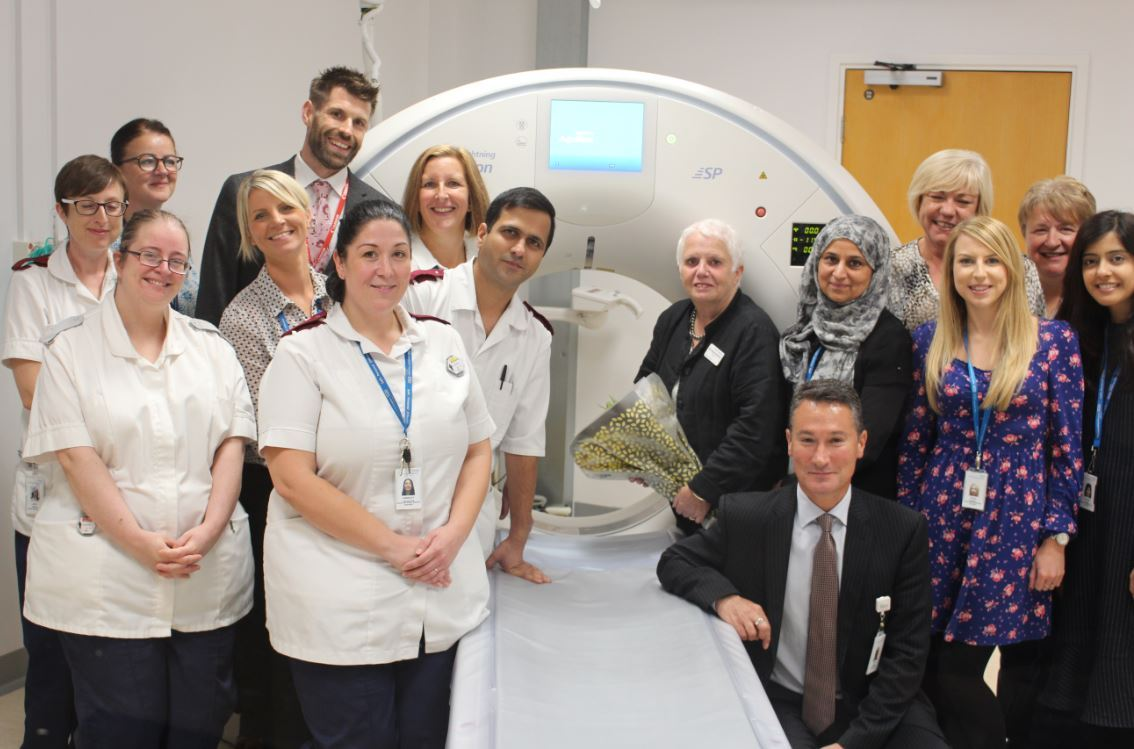 Staff at Royal Blackburn Hospital with the new state of the art CT scanner