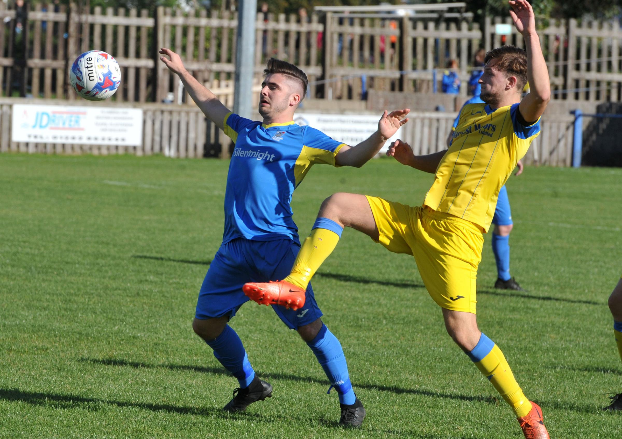 Match action from Barnoldswick Town's 2-1 weekend win over Ashton Pictures: TIM BRADLEY
