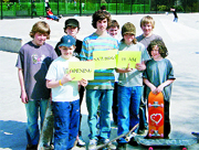 THEY'RE OFF: Young skaters keen to make early use of the new park at Clitheroe