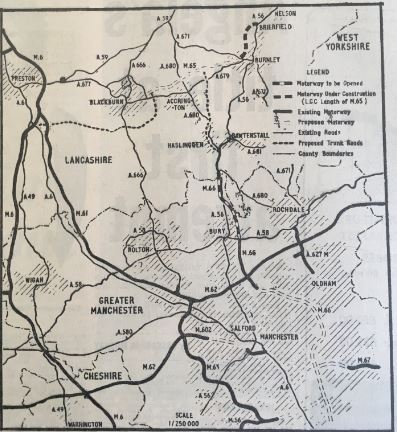 Road map showing new road link from Haslingden to Manchester