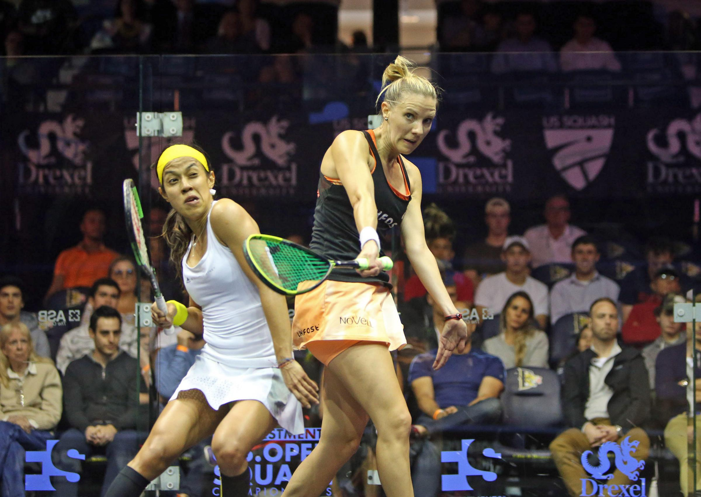 Laura Massaro beat Nicol David to reach the quarter finals of the US Open