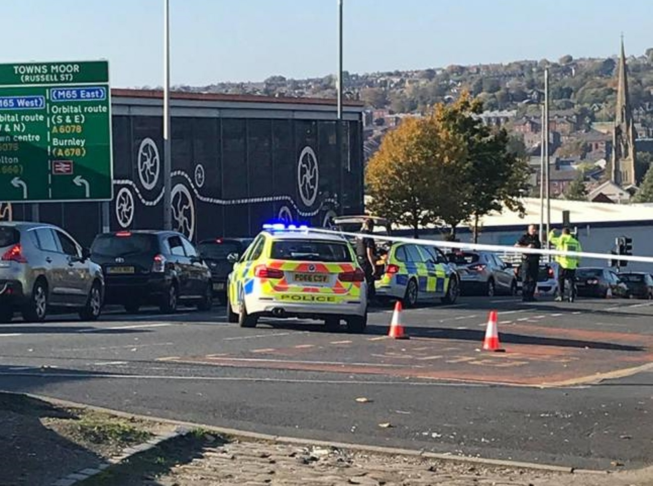 Police at the scene of the serious crash in Park Road, Blackburn