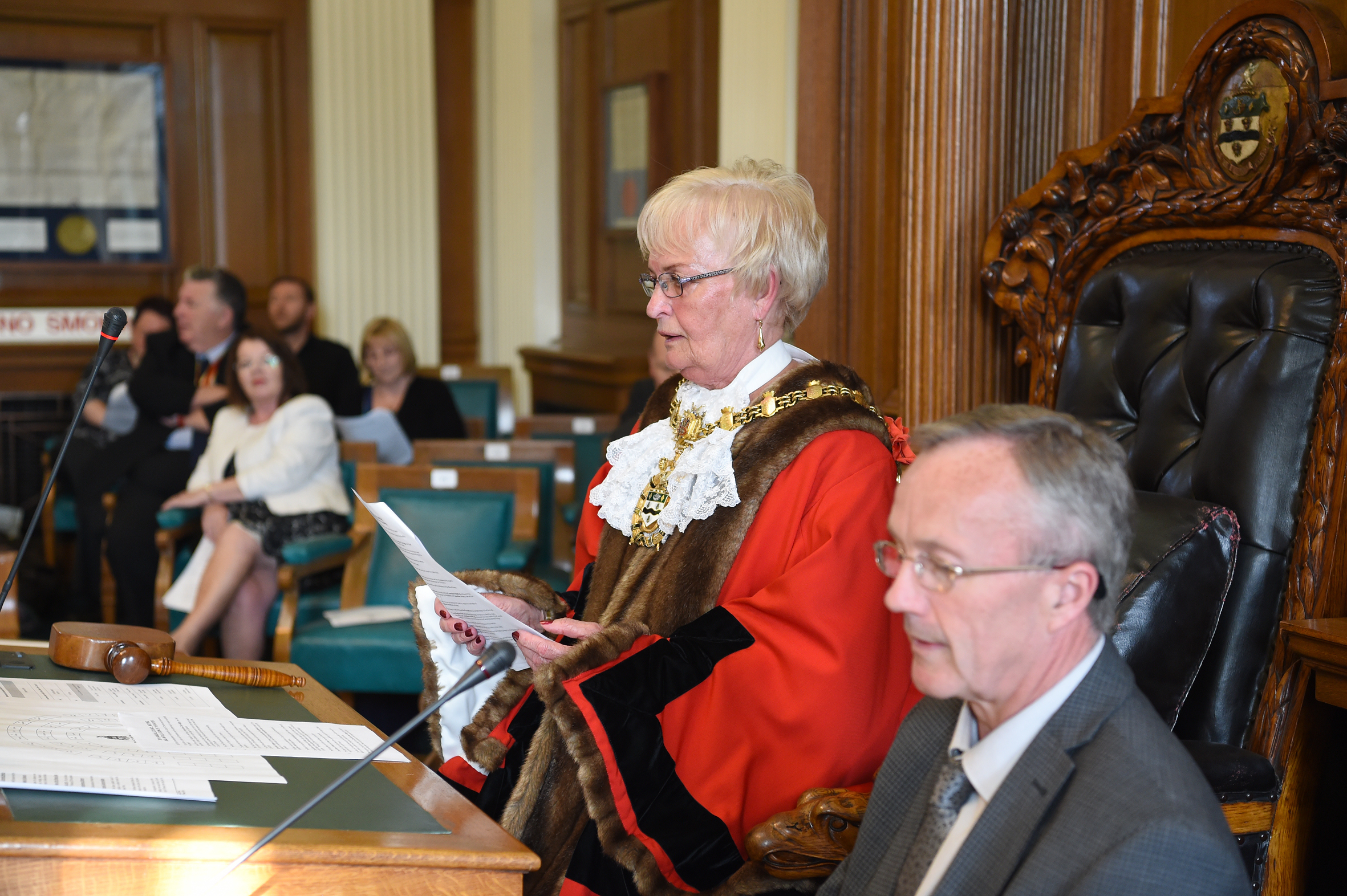 Cllr Pat McFall is installed as mayor for Blackburn with Darwen