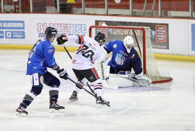 Match action from Blackburn Hawks' 6-0 home defeat to Sheffield Steeldogs on Sunday