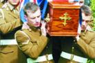 FINAL FAREWELL: Fellow soldiers from his regiment carried Brett Walmsley's coffin