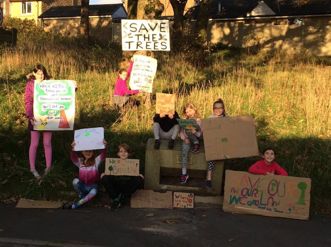 Children from Pendle Avenue and Coniston Way in Bacup protest against the lodged planning application which if approved will see their precious trees chopped down