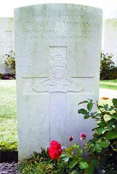 Eddie's grave at Vlamertinghe near to the town of Ypres, in Belgium, where flowers will be placed on Sunday