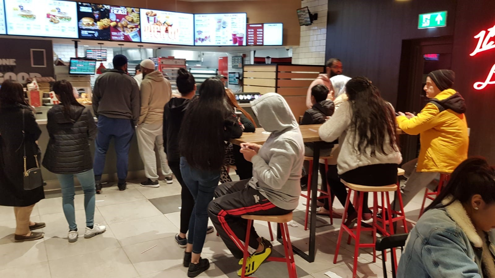 People waiting at the new KFC at Frontier Park
