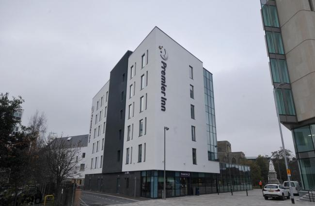 The Premier Inn in Cathedral Square in Blackburn