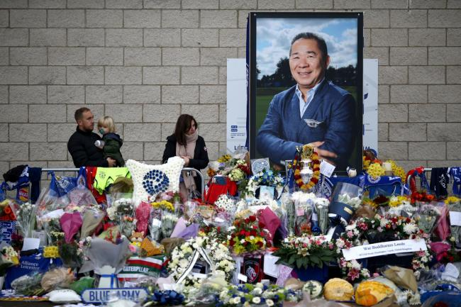 Tributes outside Leicester City Football Club to Vichai Srivaddhanaprabha
