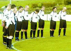 Bacup Borough FC players stage a minute's silence for Sophie Lancaster