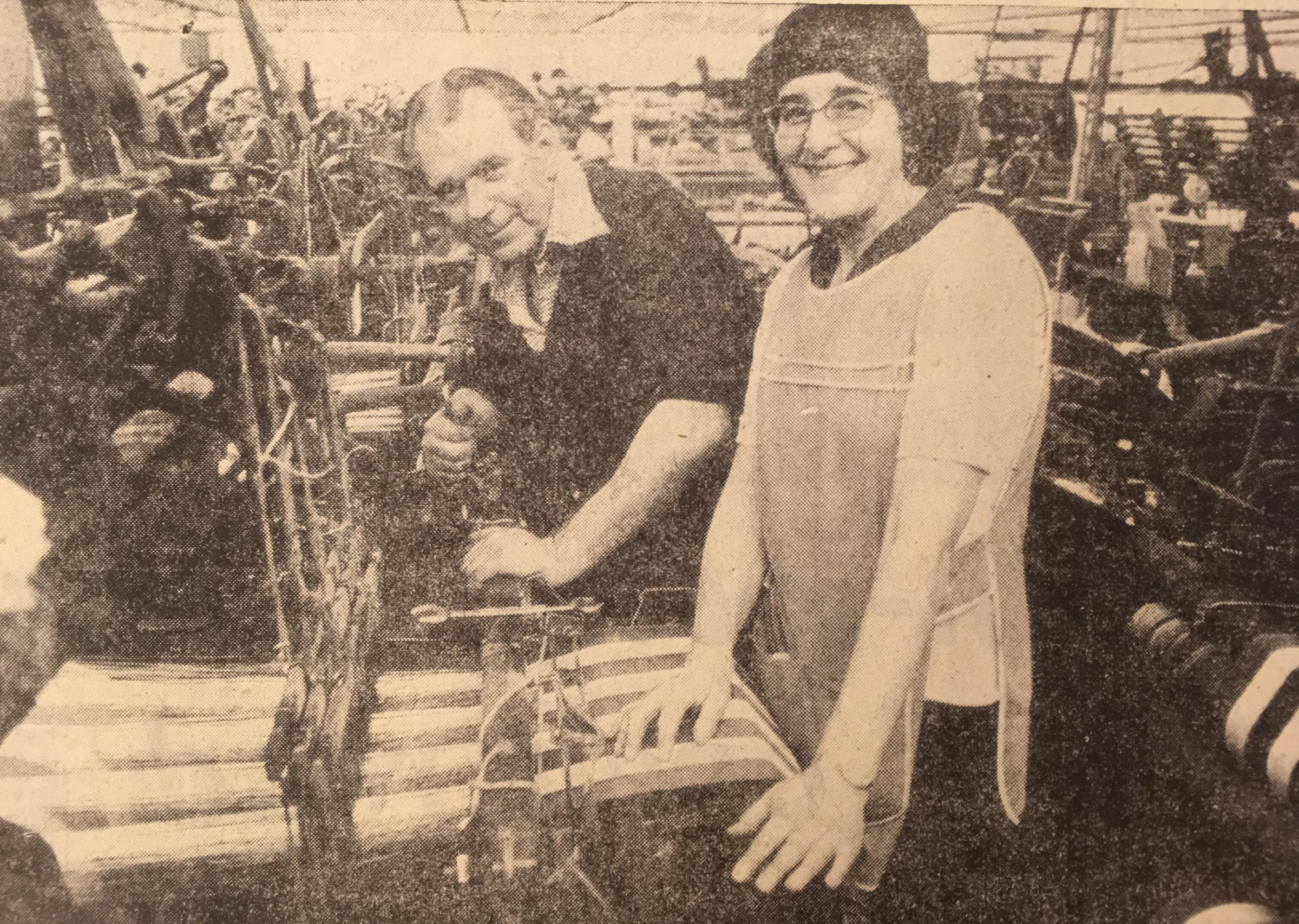 Husband and wife Herbert and Irene Bowker celebrate their Silver Jubilee in the mill in May 1978