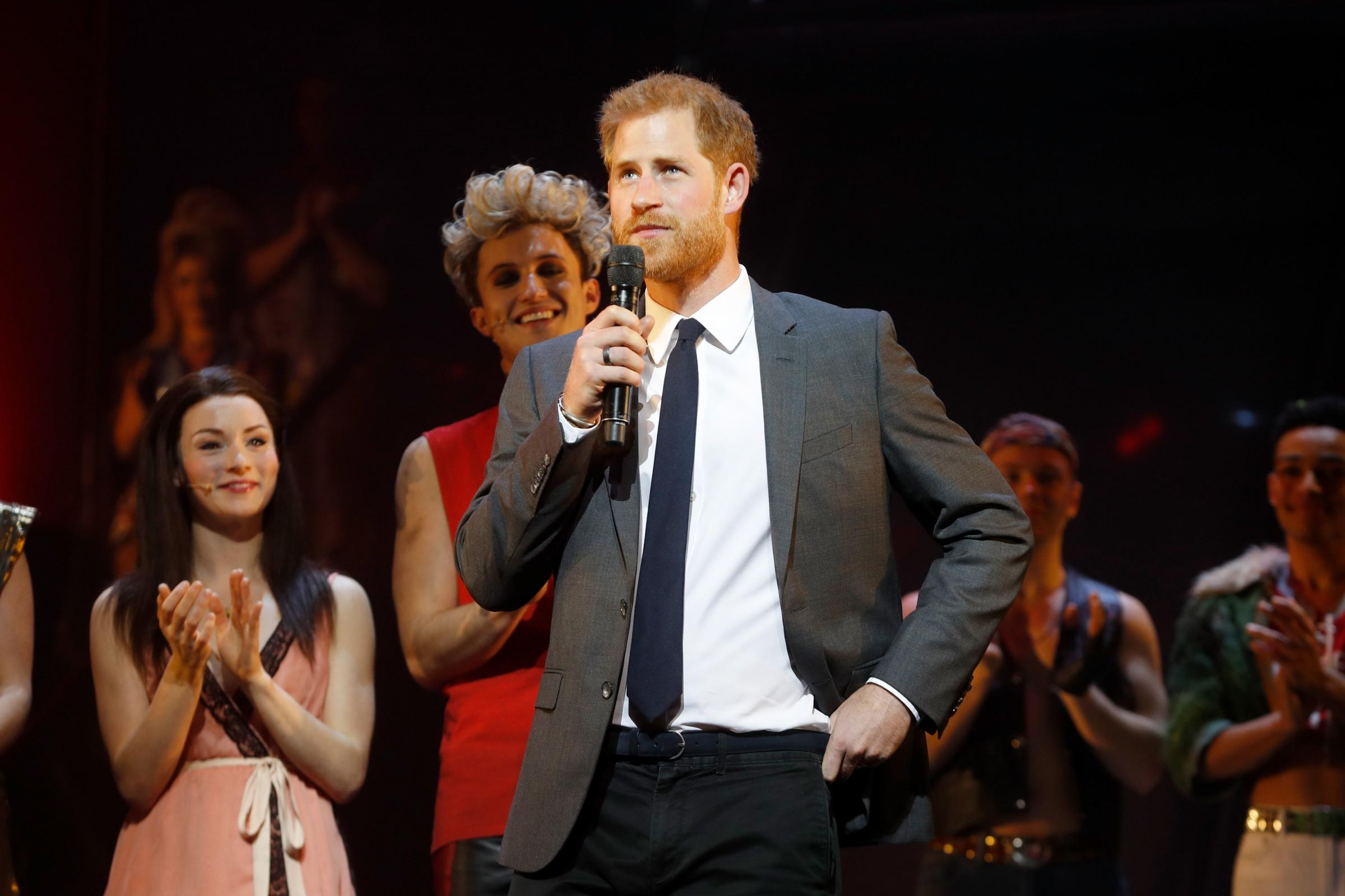 The Duke Of Sussex addresses the audience alongside the show's producer and cast members ahead of a gala performance of Bat Out Of Hell - The Musical, in support of the Invictus Games Foundation at Dominion Theatre, London