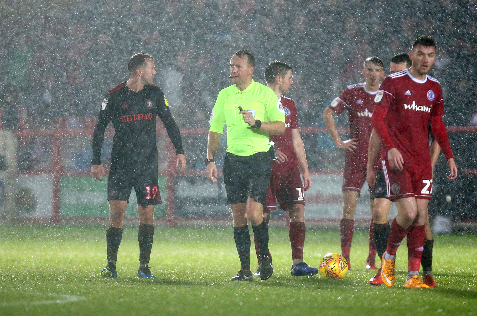 Referee Oliver Langford took the decision to call the game off after 73 minutes