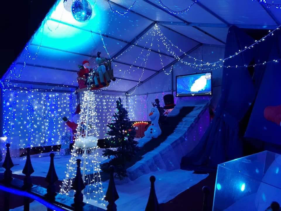 Christmas mad couple create winter wonderland and Santa's grotto in their GARDEN
