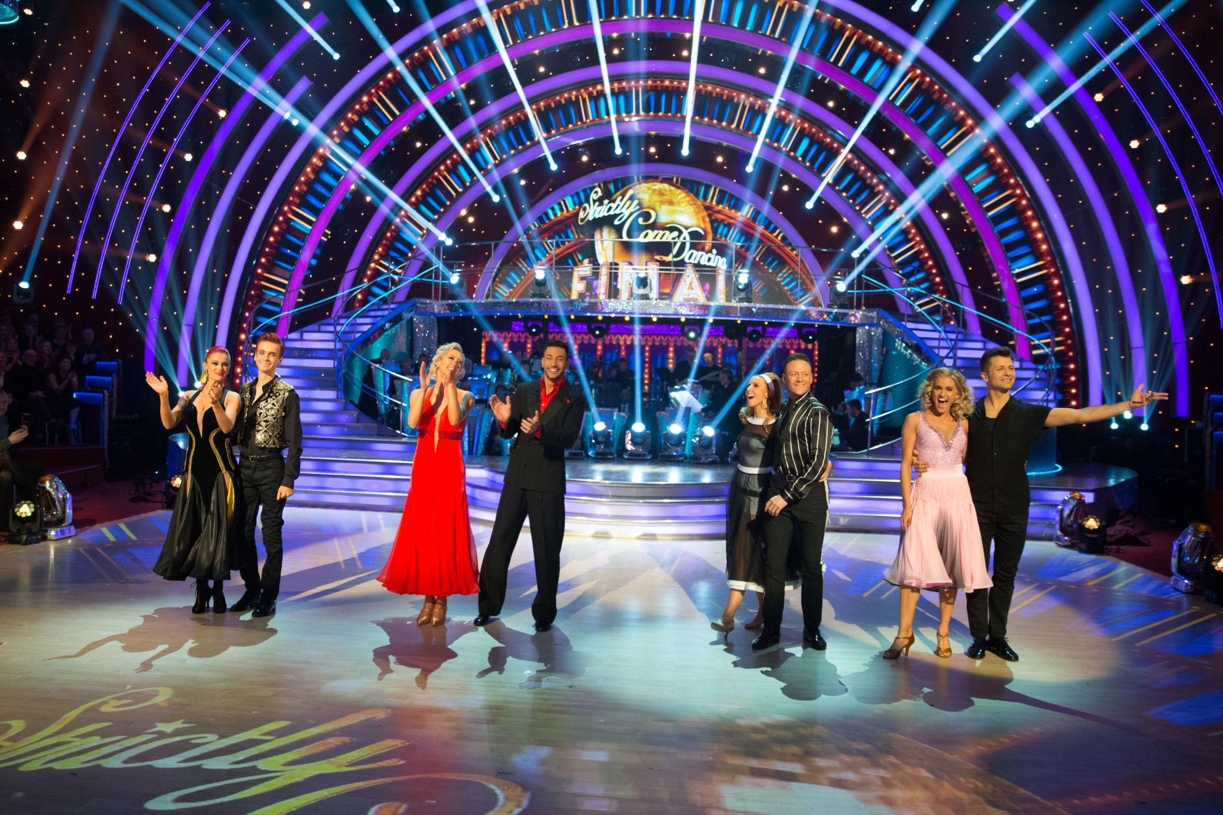Strictly finalists (left to right) Dianne Buswell, Joe Sugg, Faye Tozer, Giovanni Pernice, Stacey Dooley, Kevin Clifton, Ashley Roberts and Pasha Kovalev taking part in the Strictly Come Dancing live final on BBC One.  Picture: PA