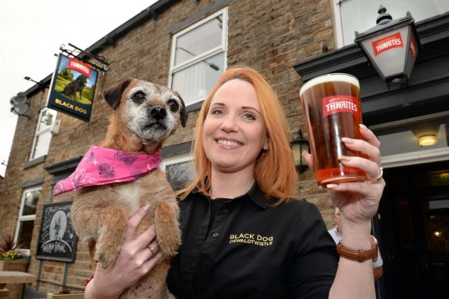 The Black Dog in Oswaldtwistle (rating 5) - landlady Emma Kearney with dog Ruby