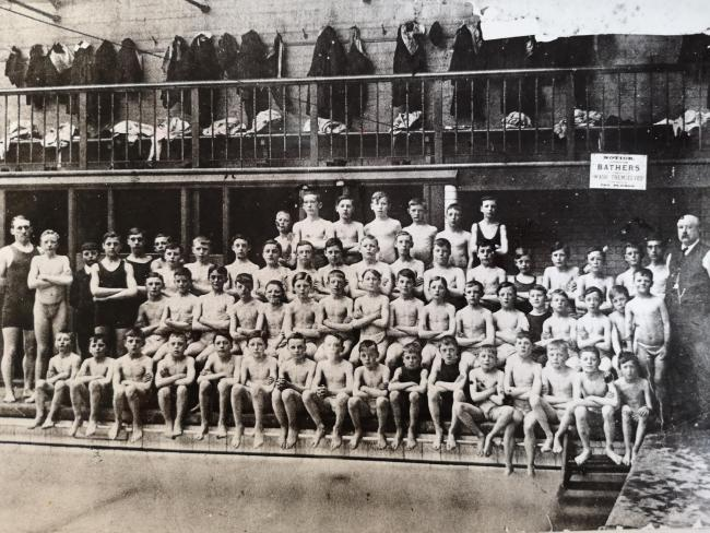 Picture of boys at Freckleton Street Swimming Baths.
