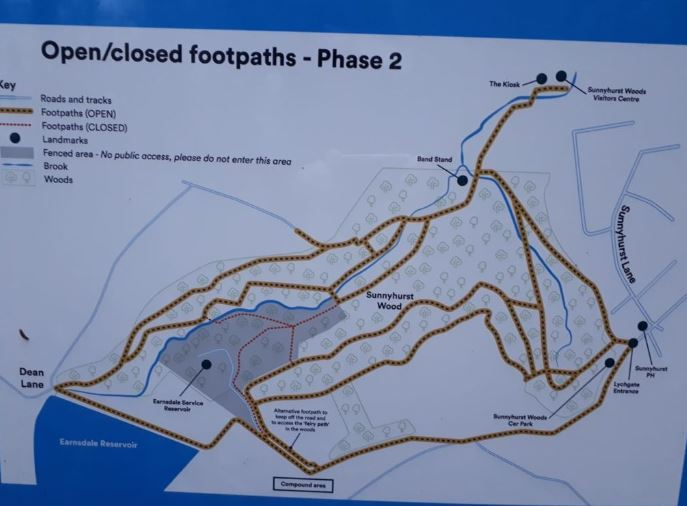 The map shows the reopened pathways in Sunnyhurst Woods