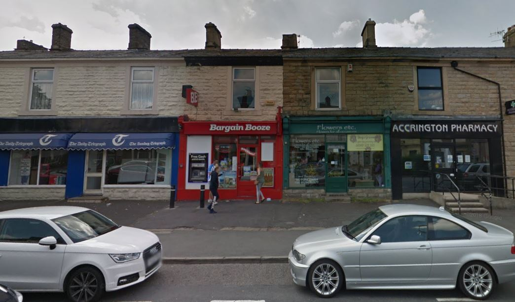 A man who was brandishing a knife robbed a Bargain Booze store on Whalley Road Accrington on Sunday night