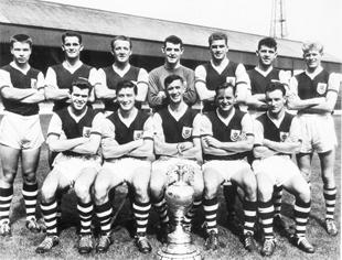Lancashire Telegraph: CHAMPIONS: 1960 title-winning Clarets side are (back l-r) Alex Elder, Jimmy Robson, Tommy Cummings, Adam Blacklaw, Brian Miller, John Angus, Ray Pointer, (front) John Connelly, Jimmy McIlroy, Jimmy Adamson, Brian Pilkington and Trevor Meredith